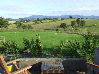 the terrace and the Mournes
